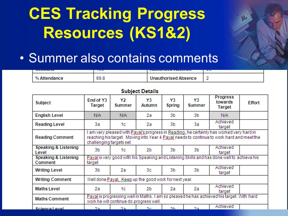 CES Tracking Progress Resources (KS1&2) Summer also contains comments
