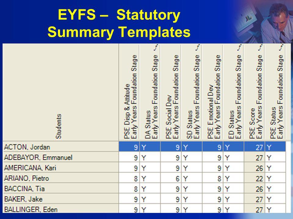 EYFS – Statutory Summary Templates