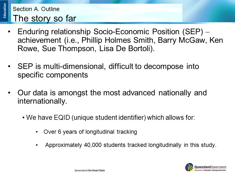Example gradient Section C. Socio Economic Data Student Achievement by Parental Occupation