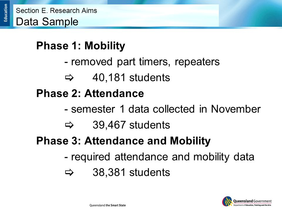 Phase 1: Mobility - removed part timers, repeaters  40,181 students Phase 2: Attendance - semester 1 data collected in November  39,467 students Phase 3: Attendance and Mobility - required attendance and mobility data  38,381 students Section E.