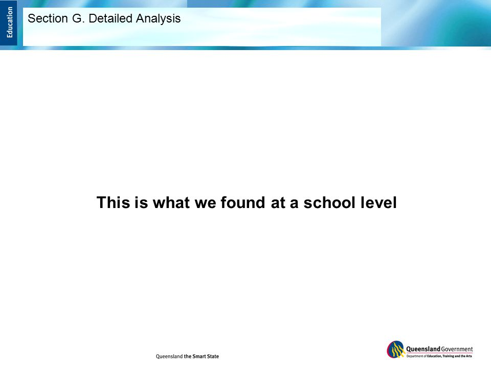 This is what we found at a school level Section G. Detailed Analysis