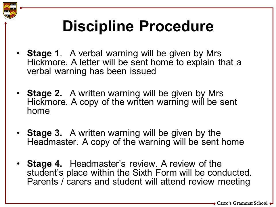 Carre's Grammar School Discipline Procedure Stage 1.