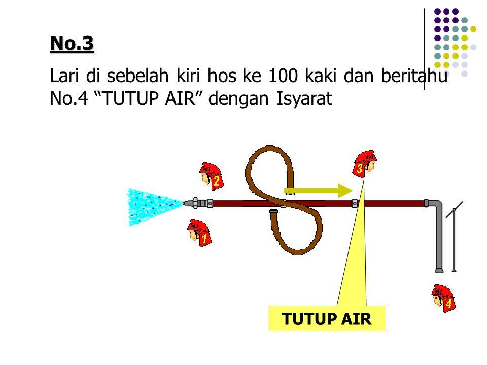 """No.3 Lari di sebelah kiri hos ke 100 kaki dan beritahu No.4 """"TUTUP AIR"""" dengan Isyarat TUTUP AIR"""
