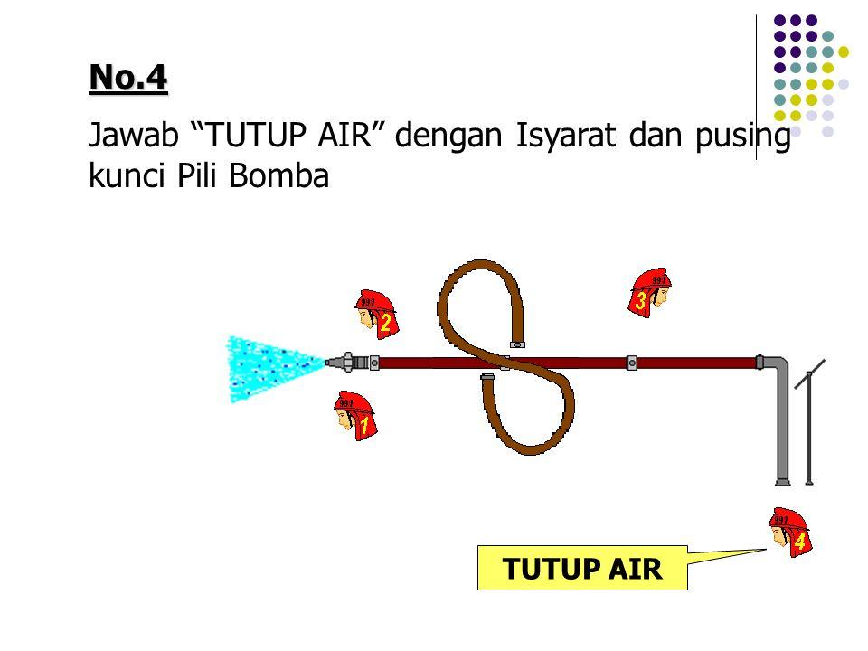 "No.4 Jawab ""TUTUP AIR"" dengan Isyarat dan pusing kunci Pili Bomba TUTUP AIR"