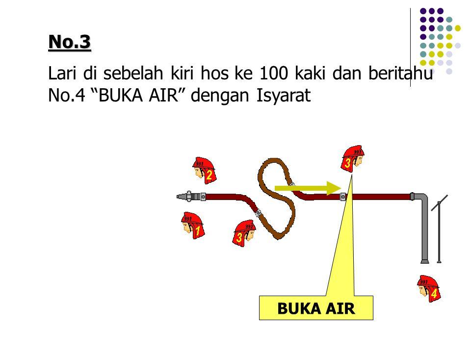 "No.3 Lari di sebelah kiri hos ke 100 kaki dan beritahu No.4 ""BUKA AIR"" dengan Isyarat BUKA AIR"