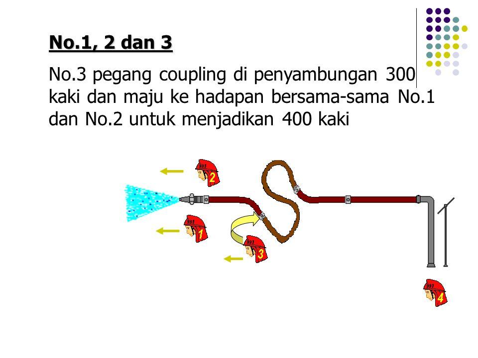 No.1, 2 dan 3 No.3 pegang coupling di penyambungan 300 kaki dan maju ke hadapan bersama-sama No.1 dan No.2 untuk menjadikan 400 kaki