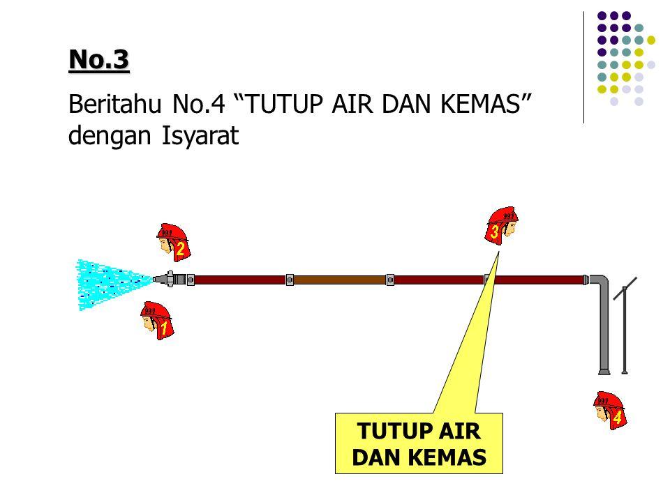 """No.3 Beritahu No.4 """"TUTUP AIR DAN KEMAS"""" dengan Isyarat TUTUP AIR DAN KEMAS"""
