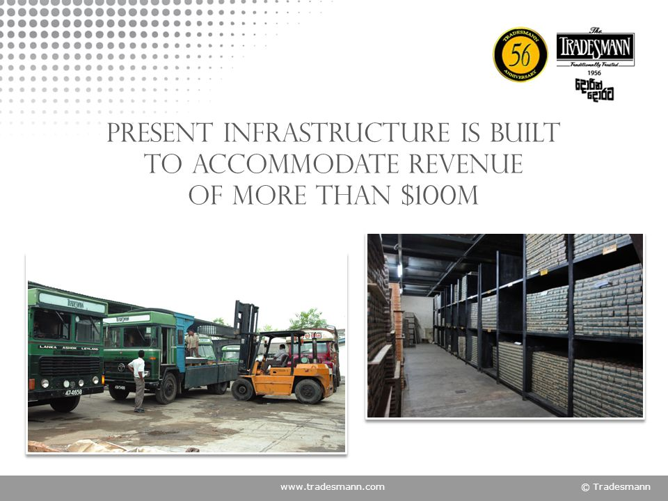 www.tradesmann.com© Tradesmann present infrastructure is built To accommodate revenue of more than $100m