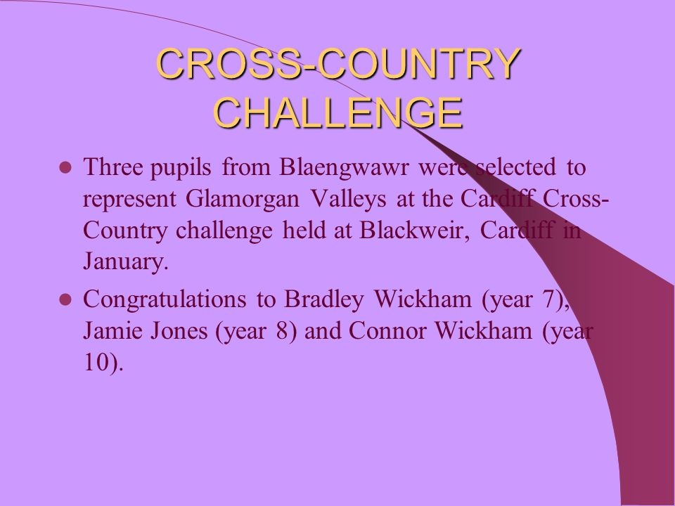 PUPILS SHINE IN FOUR COUNTIES' HOCKEY CHALLENGE In December, five Blaengwawr pupils represented Glamorgan Valleys County in the inaugural Four Counties Challenge tournament held in Swansea.
