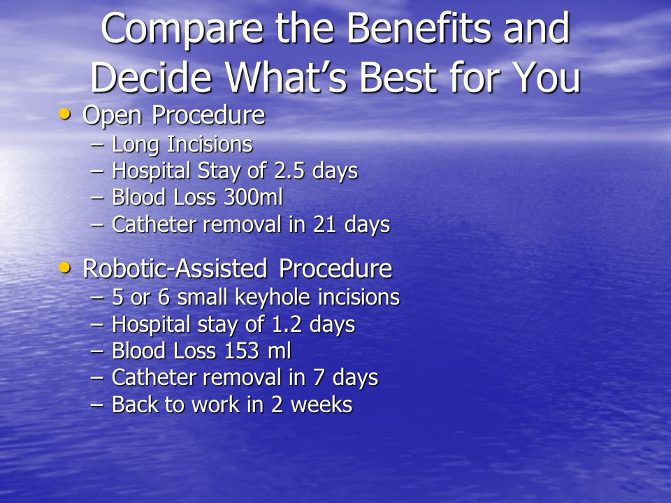 Compare the Benefits and Decide What's Best for You Open Procedure Open Procedure –Long Incisions –Hospital Stay of 2.5 days –Blood Loss 300ml –Cathet