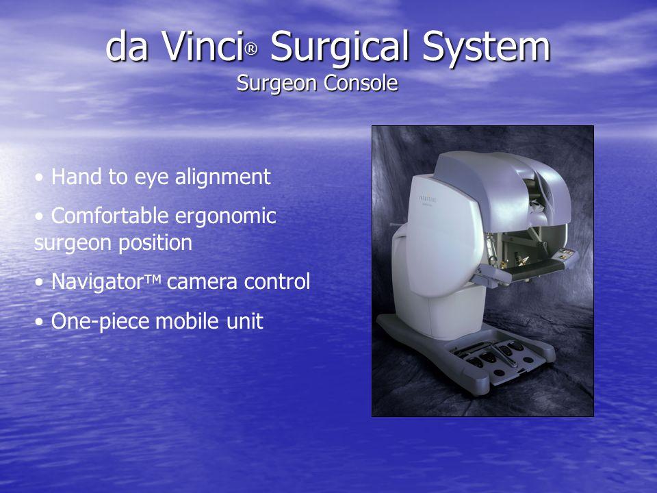 Hand to eye alignment Comfortable ergonomic surgeon position Navigator TM camera control One-piece mobile unit da Vinci ® Surgical System Surgeon Cons