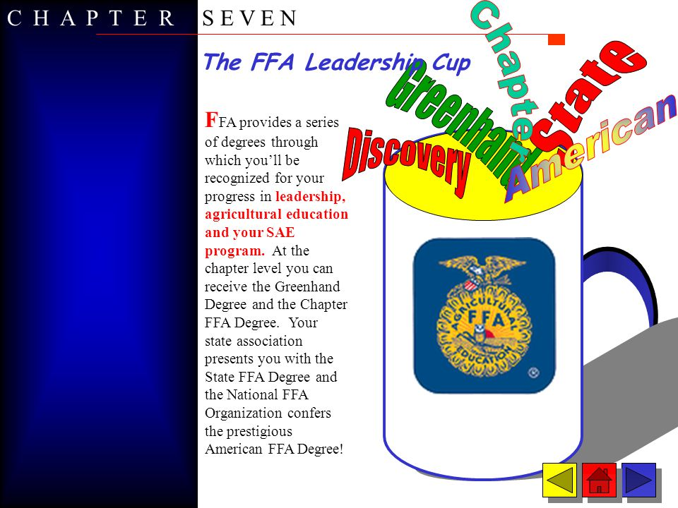 Discovery FFA Degree T he Discovery Degree is an optional degree granted to middle school/junior high members based on FFA membership and knowledge gained through seventh and eighth grade agricultural education programs.