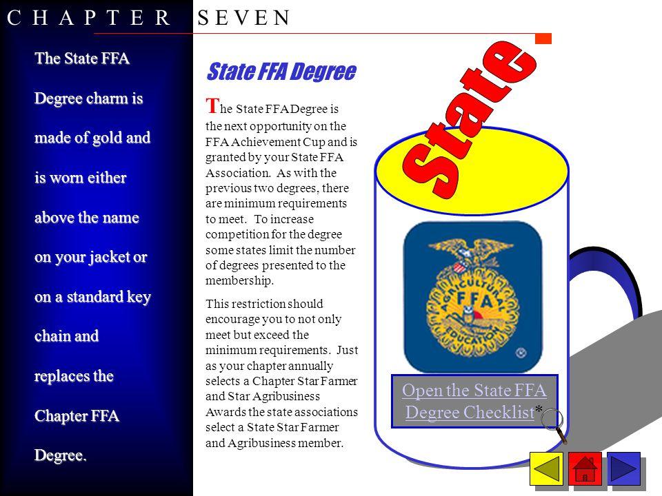 American FFA Degree Open the American FFA Degree Checklist* T he final ingredient in the FFA Achievement Cup is the American FFA Degree.