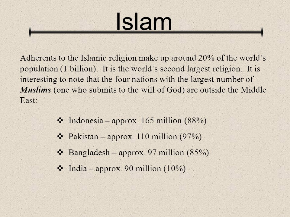Islam Adherents to the Islamic religion make up around 20% of the world's population (1 billion). It is the world's second largest religion. It is int