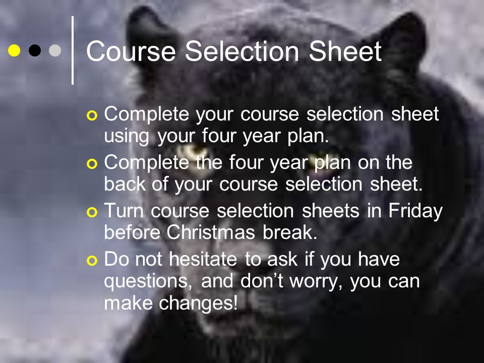 Course Selection Sheet Complete your course selection sheet using your four year plan.