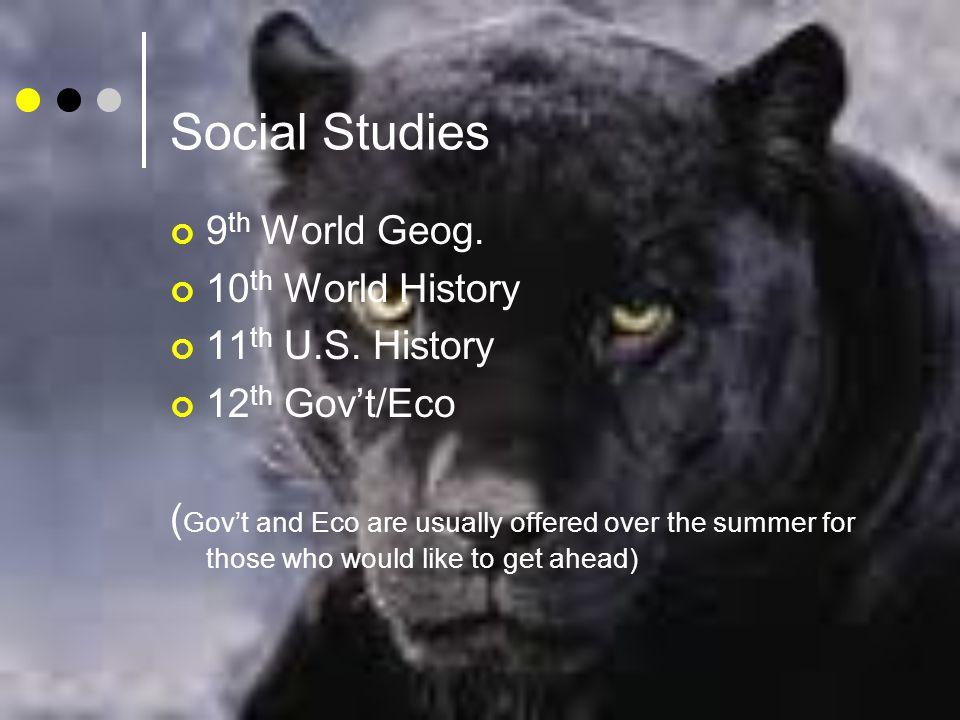 Social Studies 9 th World Geog. 10 th World History 11 th U.S.