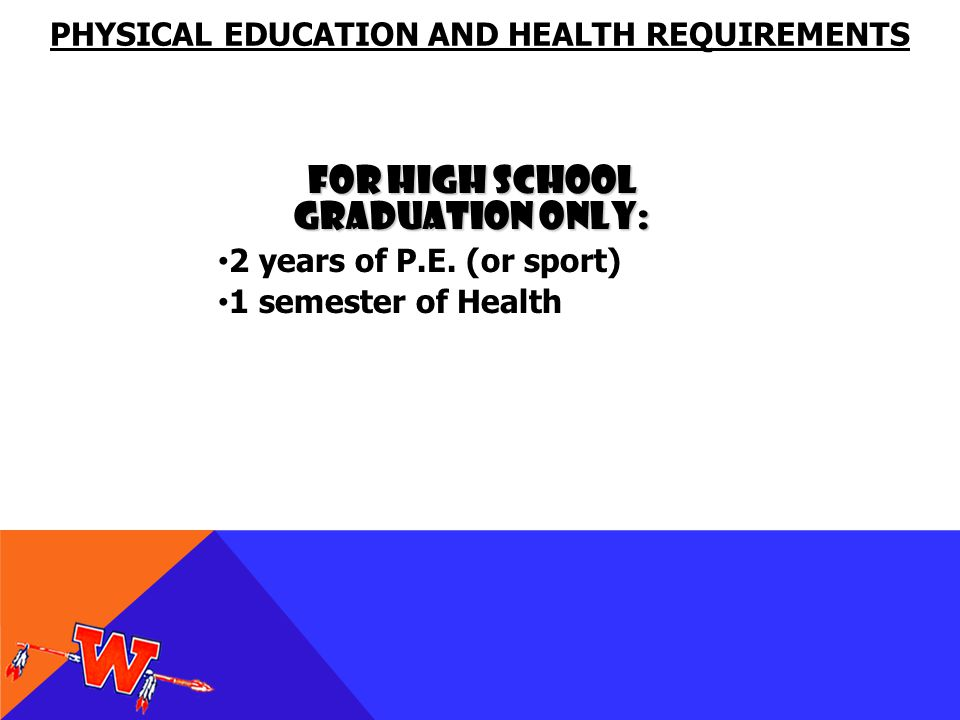 For High School Graduation Only: 2 years of P.E.