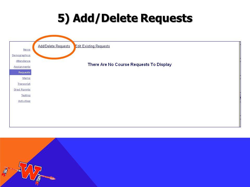 5) Add/Delete Requests
