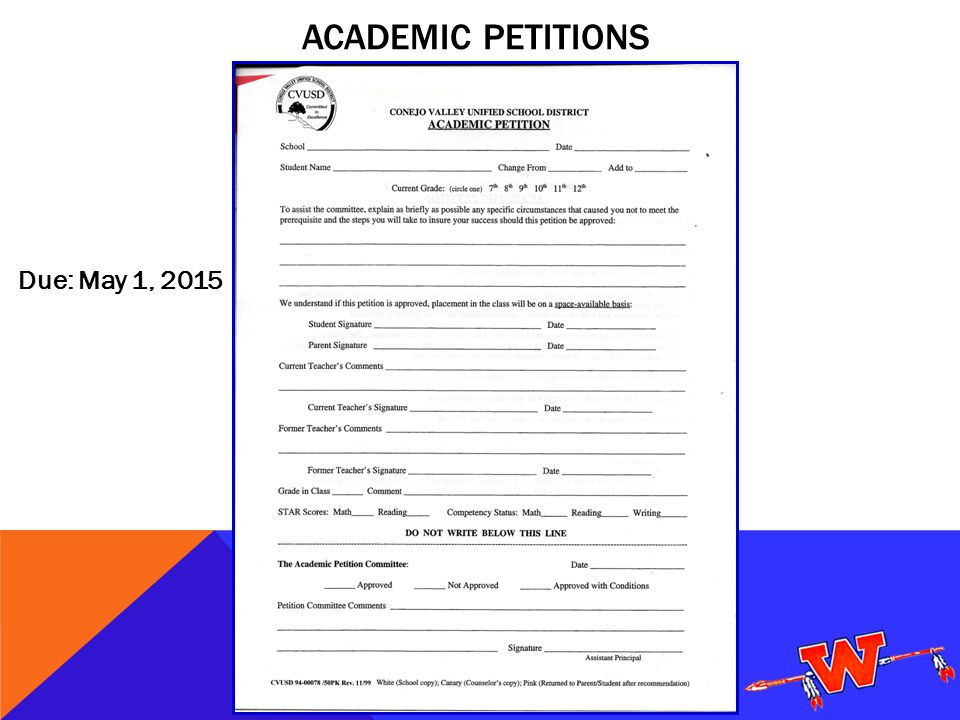 ACADEMIC PETITIONS Due: May 1, 2015