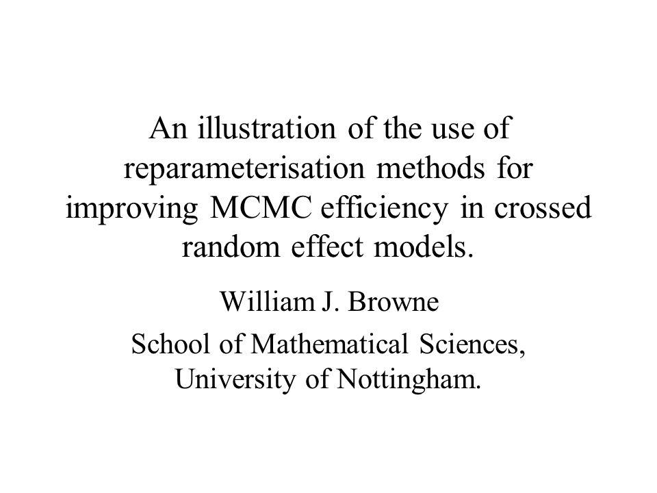 An illustration of the use of reparameterisation methods for improving MCMC efficiency in crossed random effect models. William J. Browne School of Ma