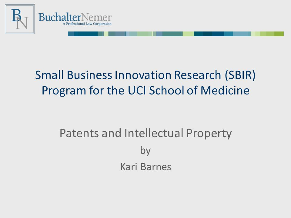 Small Business Innovation Research (SBIR) Program for the UCI School of Medicine Patents and Intellectual Property by Kari Barnes