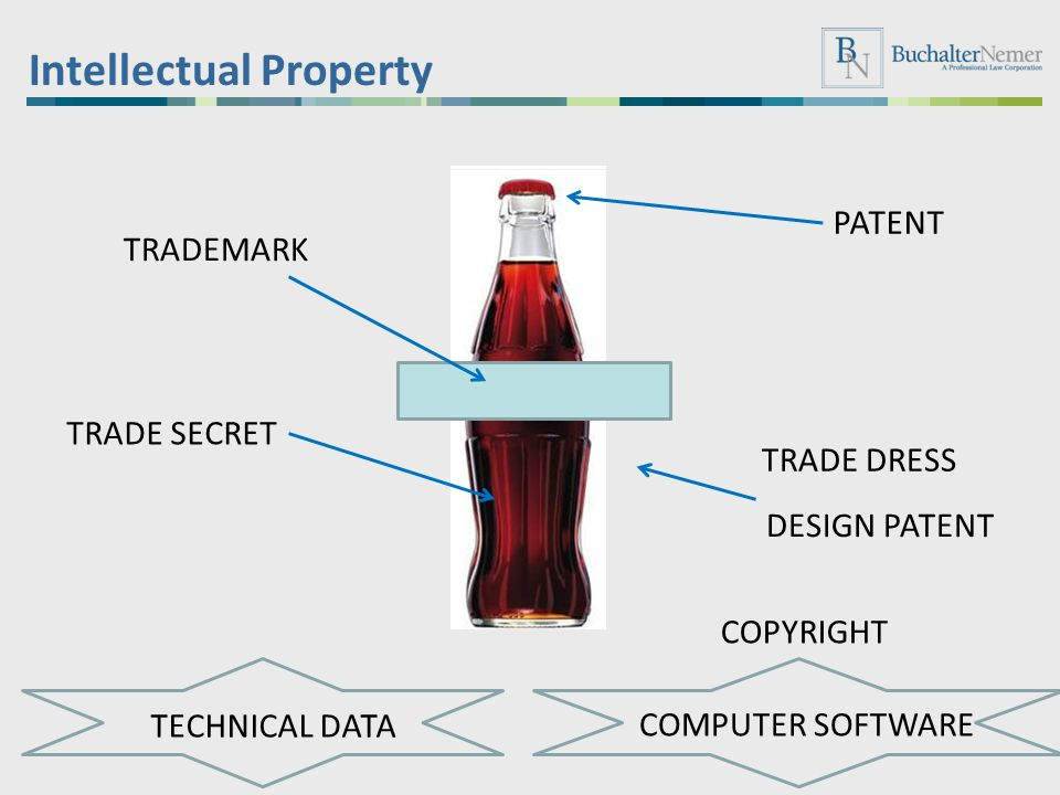 Intellectual Property TRADEMARK TRADE DRESS DESIGN PATENT TECHNICAL DATA PATENT TRADE SECRET COMPUTER SOFTWARE COPYRIGHT