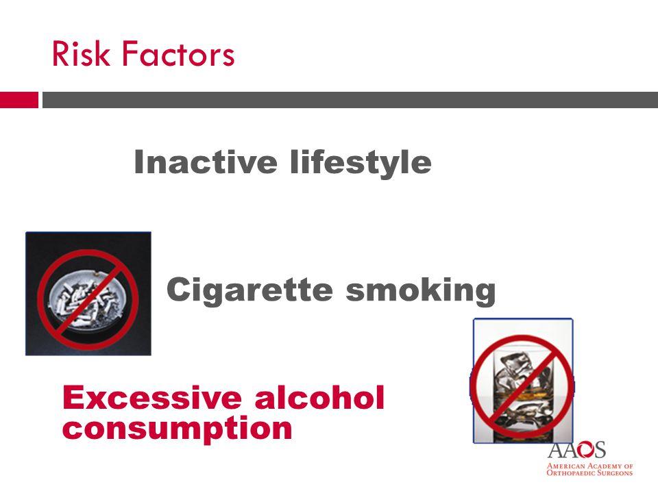 Risk Factors Inactive lifestyle Cigarette smoking Excessive alcohol consumption