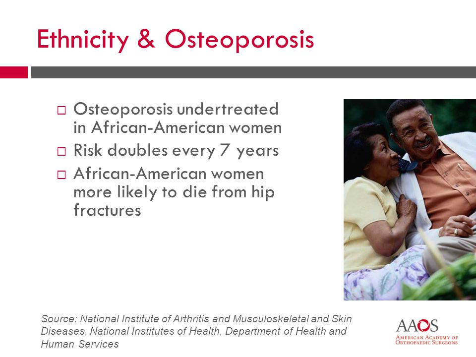 Ethnicity & Osteoporosis  Osteoporosis undertreated in African-American women  Risk doubles every 7 years  African-American women more likely to die from hip fractures Source: National Institute of Arthritis and Musculoskeletal and Skin Diseases, National Institutes of Health, Department of Health and Human Services
