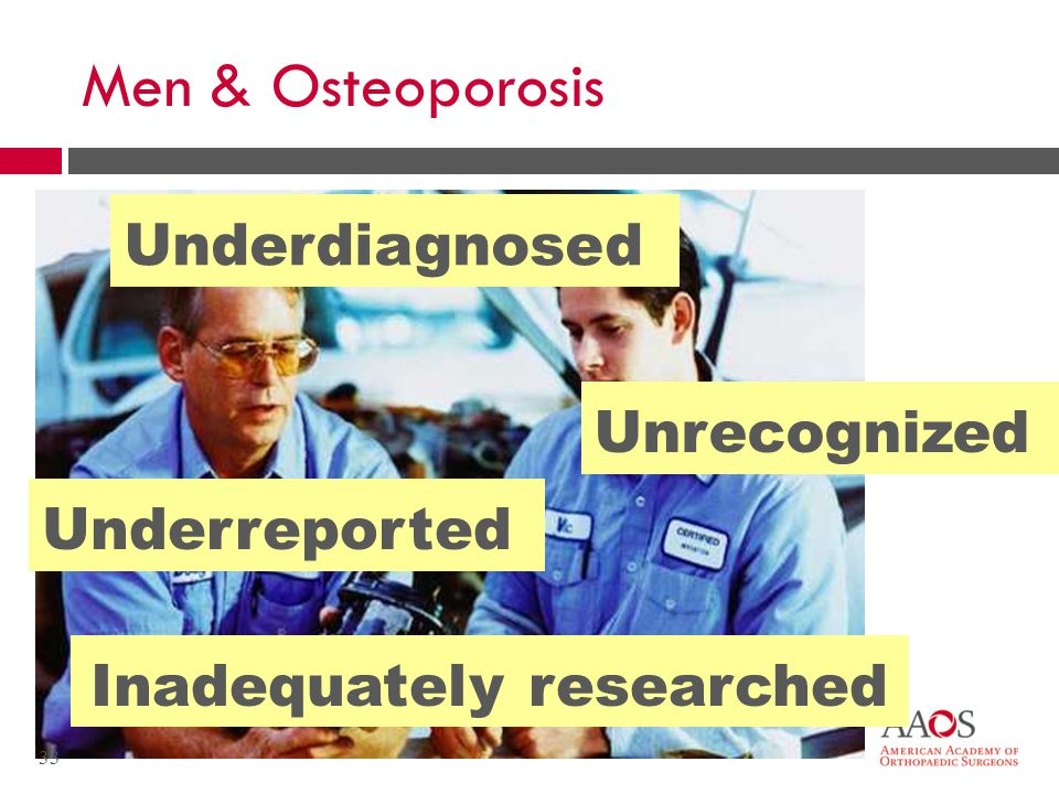 Men & Osteoporosis Underdiagnosed Unrecognized Underreported Inadequately researched 33