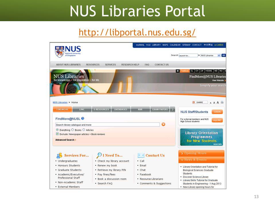 http://libportal.nus.edu.sg/ 13