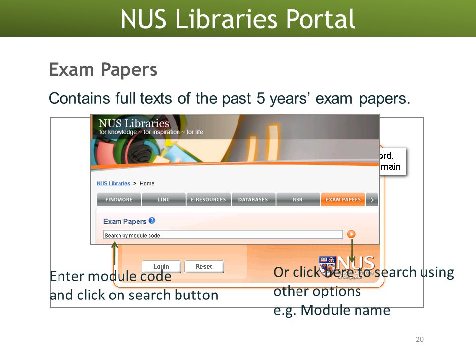NUS Libraries Portal 20 Exam Papers Enter module code and click on search button Or click here to search using other options e.g.
