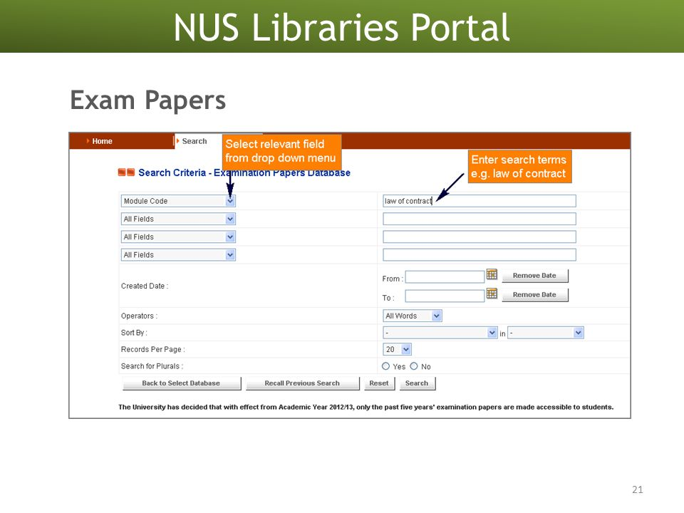 NUS Libraries Portal 21 Exam Papers