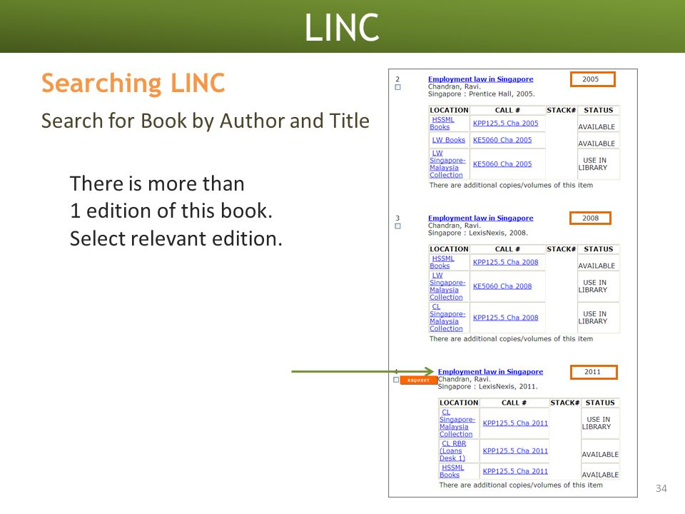 LINC 34 Search for Book by Author and Title Searching LINC There is more than 1 edition of this book.