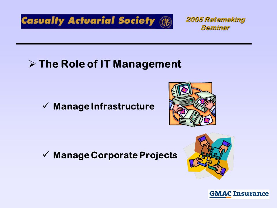 2005 Ratemaking Seminar  The Role of IT Management Manage Infrastructure Manage Corporate Projects