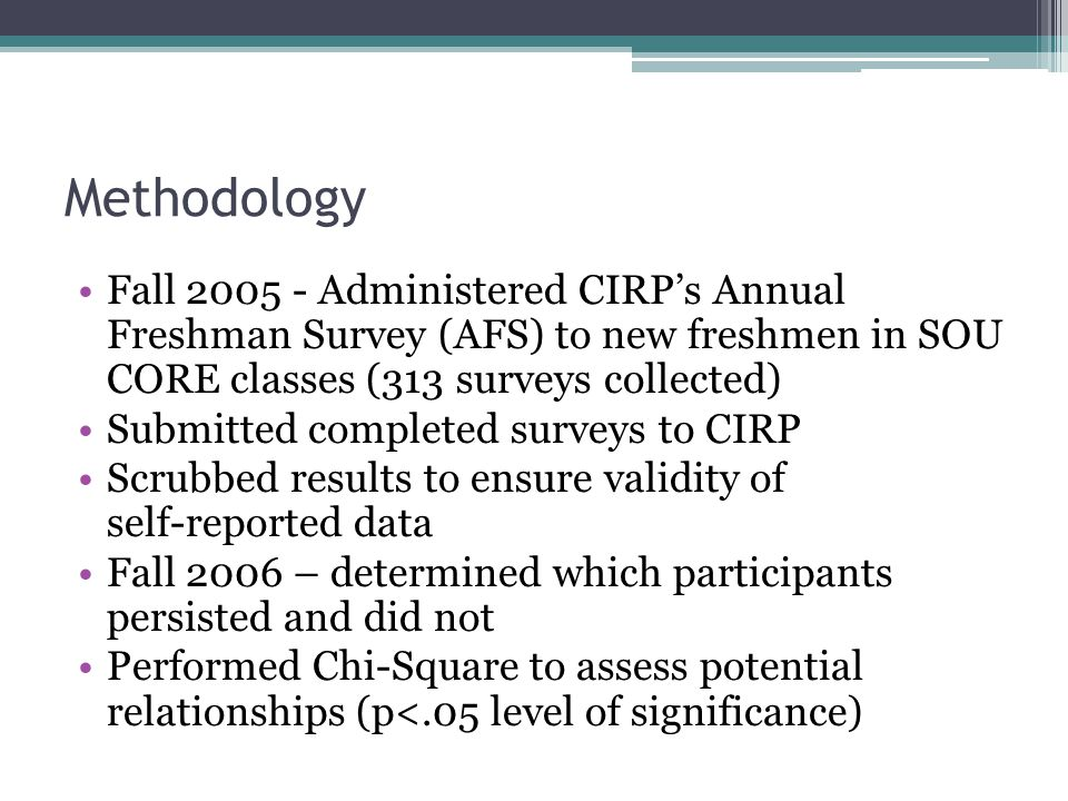 Methodology Fall Administered CIRP's Annual Freshman Survey (AFS) to new freshmen in SOU CORE classes (313 surveys collected) Submitted completed surveys to CIRP Scrubbed results to ensure validity of self-reported data Fall 2006 – determined which participants persisted and did not Performed Chi-Square to assess potential relationships (p<.05 level of significance)