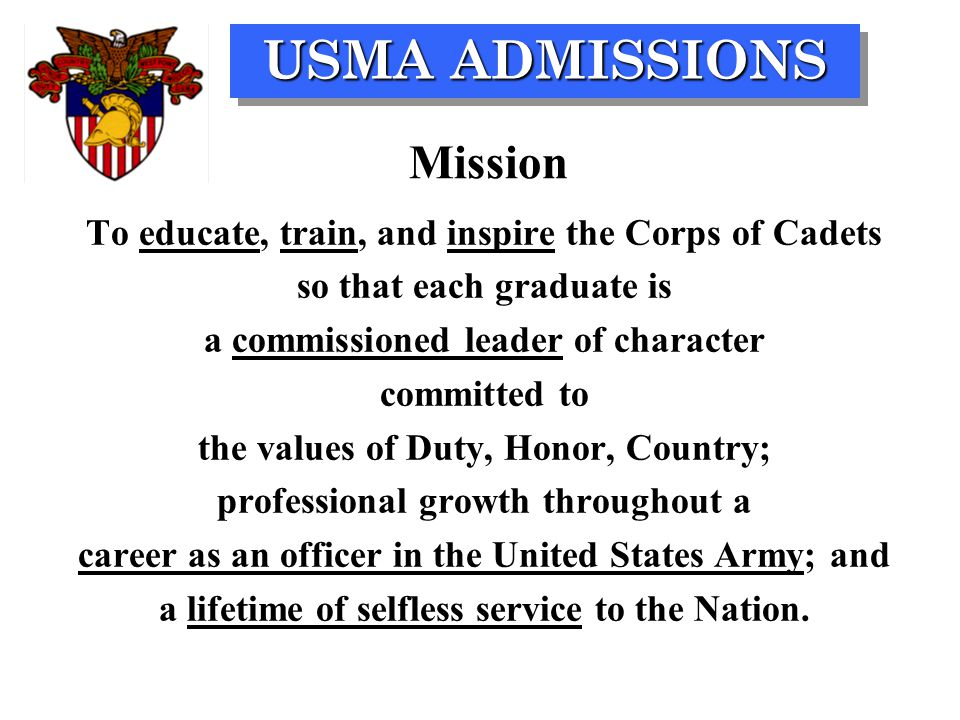 USMA ADMISSIONS Congressional Nomination: Determined by nominating source OK District 4: Congressman J.C.