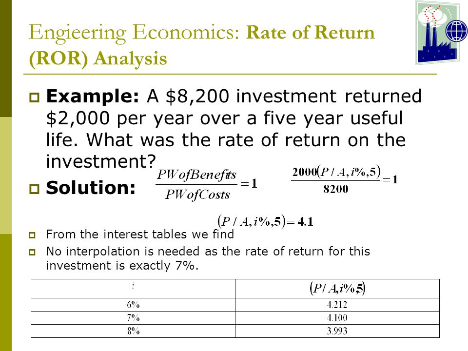 Engieering Economics: Rate of Return (ROR) Analysis  Example: A $8,200 investment returned $2,000 per year over a five year useful life.