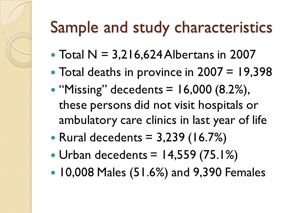 Sample and study characteristics Total N = 3,216,624 Albertans in 2007 Total deaths in province in 2007 = 19,398 Missing decedents = 16,000 (8.2%), these persons did not visit hospitals or ambulatory care clinics in last year of life Rural decedents = 3,239 (16.7%) Urban decedents = 14,559 (75.1%) 10,008 Males (51.6%) and 9,390 Females