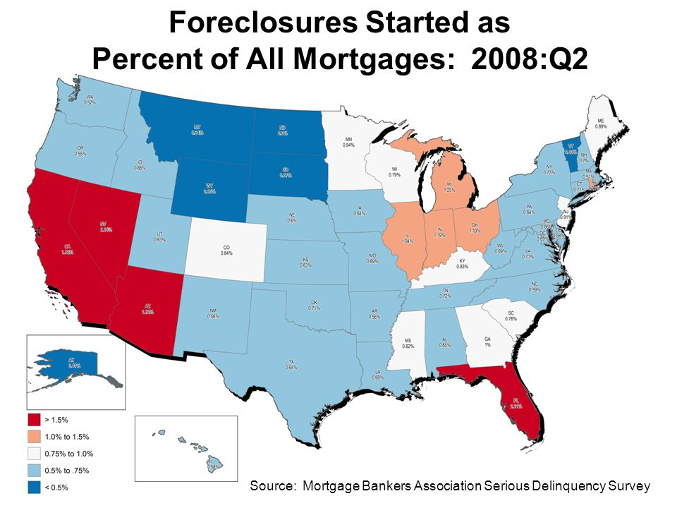 Confidential - Internal Distribution Foreclosures Started as Percent of All Mortgages: 2008:Q2 Source: Mortgage Bankers Association Serious Delinquency Survey