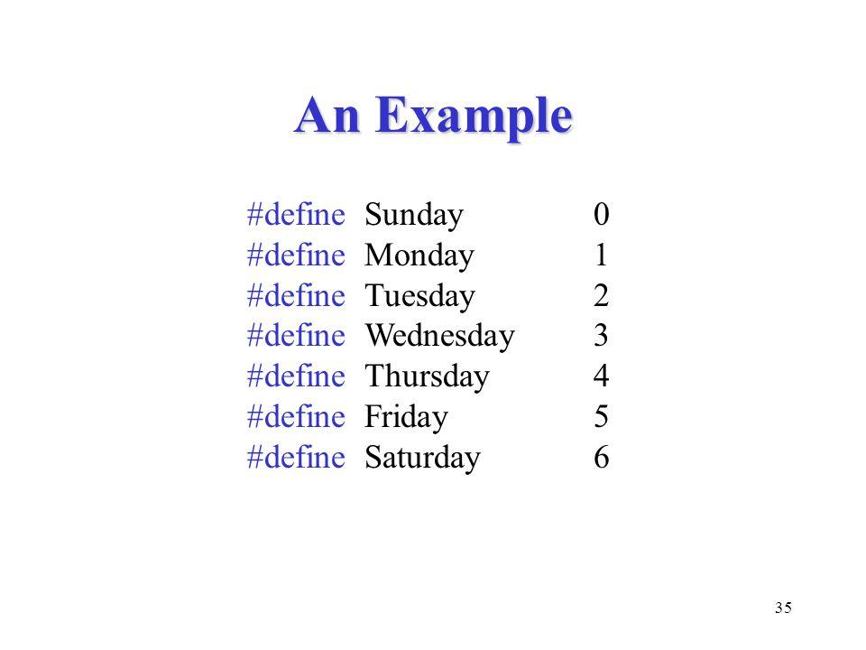 35 An Example #define Sunday0 #define Monday1 #define Tuesday2 #define Wednesday3 #define Thursday4 #define Friday5 #define Saturday6