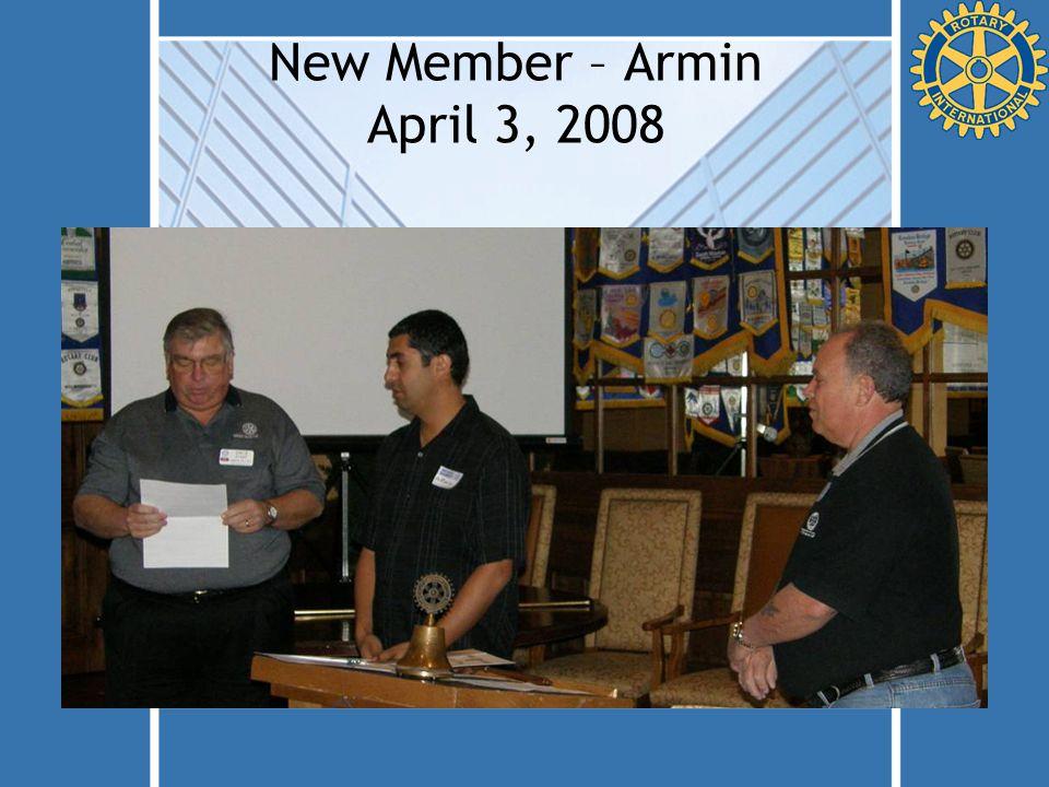 New Member – Armin April 3, 2008