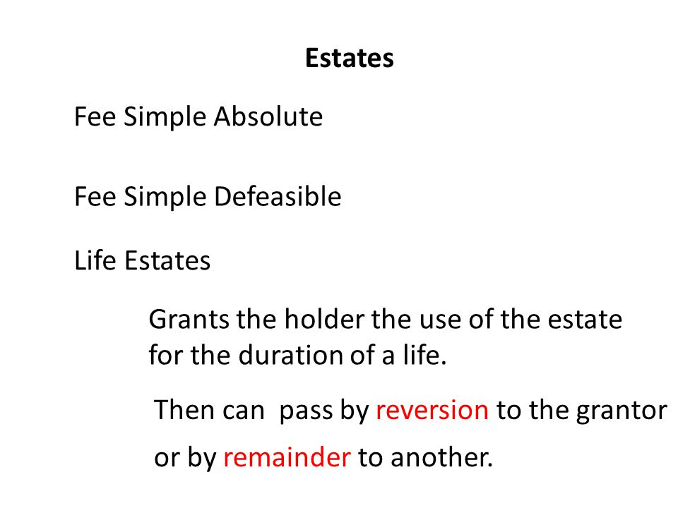 Estates Fee Simple Absolute Fee Simple Defeasible Life Estates Grants the holder the use of the estate for the duration of a life.