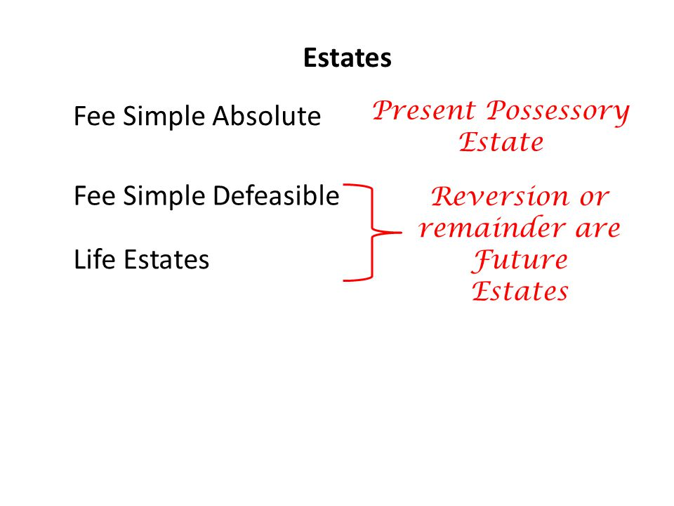 Estates Fee Simple Absolute Fee Simple Defeasible Life Estates Present Possessory Estate Reversion or remainder are Future Estates