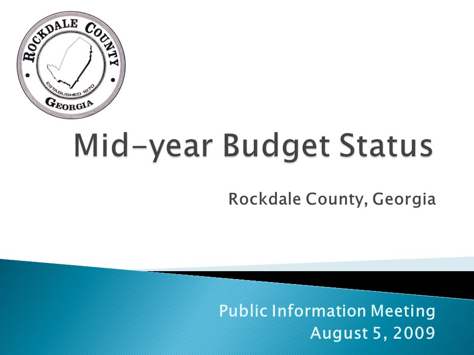 Rockdale County, Georgia Public Information Meeting August 5, 2009