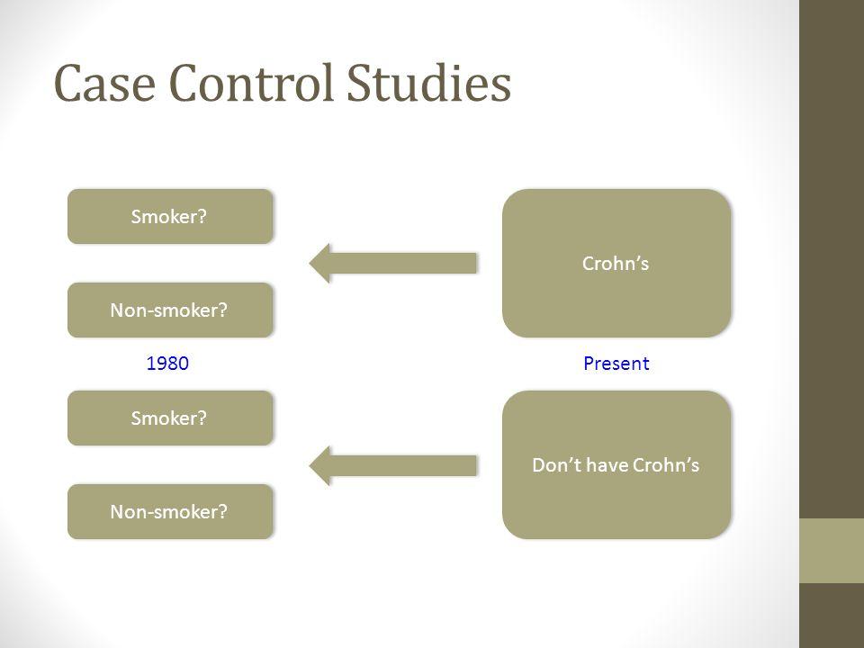 Case Control Studies Don't have Crohn's Crohn's Smoker? Non-smoker? Smoker? Present1980