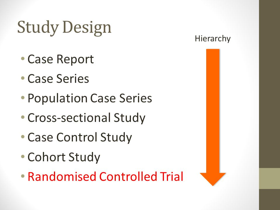 Study Design Case Report Case Series Population Case Series Cross-sectional Study Case Control Study Cohort Study Randomised Controlled Trial Hierarch