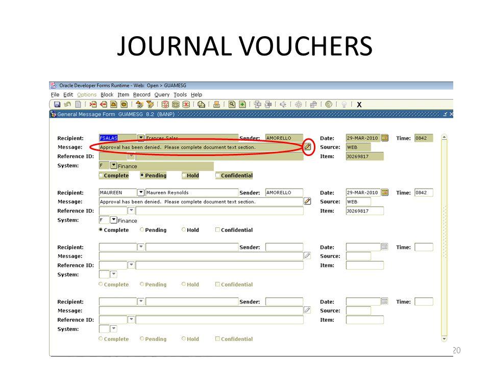 JOURNAL VOUCHERS 20