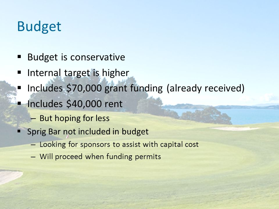 Budget  Budget is conservative  Internal target is higher  Includes $70,000 grant funding (already received)  Includes $40,000 rent – But hoping for less  Sprig Bar not included in budget – Looking for sponsors to assist with capital cost – Will proceed when funding permits