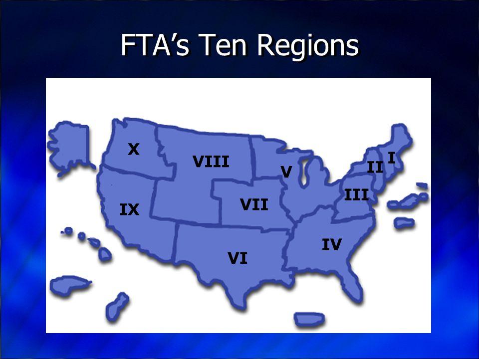 FTA's Ten Regions I II III IV V VII VI VIII IX X
