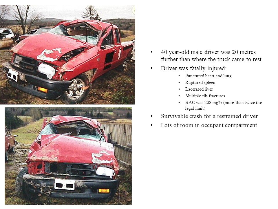 Occupants: (Pontiac) –driver 48 year old female restrained with airbag hospitalized for 22 days serious injuries –ruptured spleen –multiple brain contusions –multiple rib fractures –fractured right and left pelvis –broken left leg –right front passenger 12 year old female serious injuries –cerebral hematoma left side –fractured left forehead –hematoma to left eye –hemorrhage to left eye –Whiplash (Ambulance) –ambulance driver ambulance driver and right front passenger both restrained minimal injuries